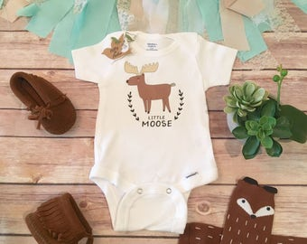 Little Moose Onesie®, Baby Boy Clothes, Baby Shower Gift, Moose Baby, Hunting Onesie, Cute Baby Onesies, Canada Baby Onesie, Little Brother
