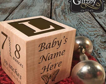 Customize Baby Block New Baby Gift Newborn Baby Gift Personalized Baby Gift Newborn Gift Wooden Baby Block Twin Gift