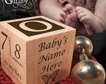 Custom Engraved Wood Baby Birth Block - Add Personalized Text to the Wood Baby Block  - New Baby Gifts, Baby Boy, Baby Girl, Newborn Gifts