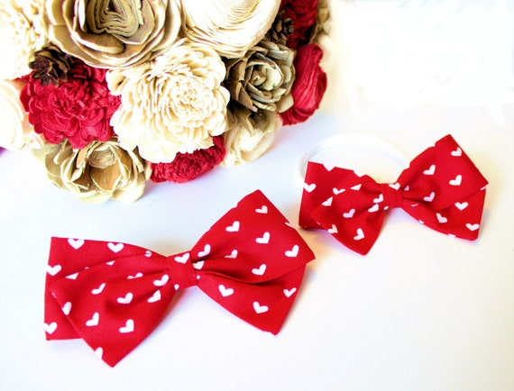 Valentine Collection- Baby Girl, Toddler, Girls Fabric Bow, Newborn, Hand tied bow, Red Heart Bow