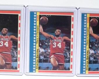 Charles Barkley - Lot of Three (3) - 1987 Fleer Basketball Sticker Cards - No. 6 of 11