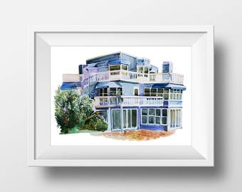 Wall Art Watercolor Beverly Hills 90210 Beach House Print,Beverly Hills 90210,Beverly Hills Print,Tv Show Poster,90s Sitcom,Printable Poster