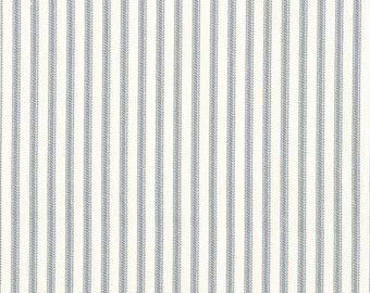 Tailored Valance, Dove Gray Ticking Stripe, Lined