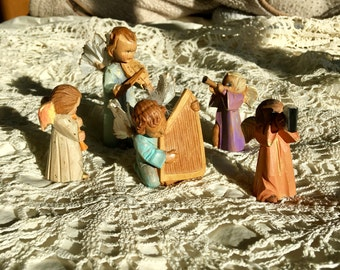 Vintage Wooden Miniature Angels Hand Painted Christmas or Holiday
