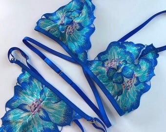 Orla Handmade Blue Bra and Thong Lingerie Set