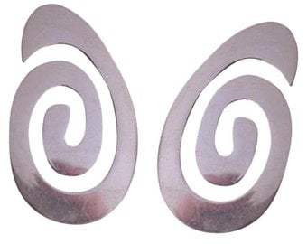 Sterling Modernist pierced Earrings