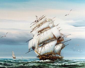 Large Original Acrylic Painting Of A Sailing Ship/Large Ocean Painting/Nautical Art/Maritime Painting/Sailing/Beach Cottage