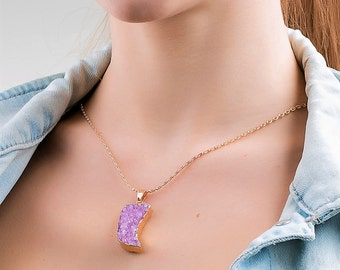 Womans jew agate necklace fang necklace gift boho necklace agate druzy raw crystal necklace gemstone pendant pink necklace healing crystal