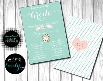 Printable Bridal Shower Invitation | Mint | Pink | Flowers
