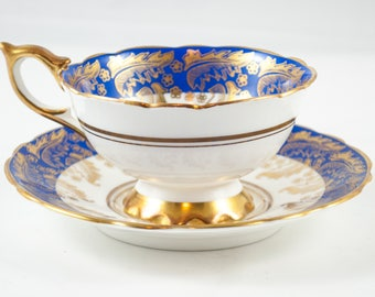 Royal Stafford White And Blue Teacup and Saucer, Wedding Gift, Vintage English Bone China Tea Cup, ca. 1950