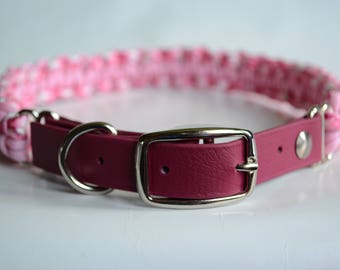 Paracord Dog Collar, Adjustable Dog Collar, Pink Dog Collar, Woven Dog Collar, Dog Collars For Girls, Dog Collar Girl, Pink Collar