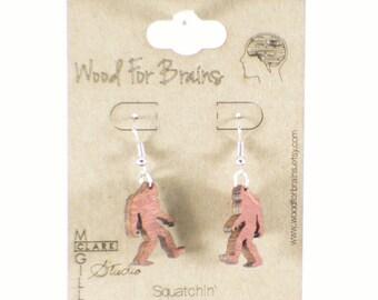 "Big Foot Laser Cut Wooden Earrings - ""Squatchin"""