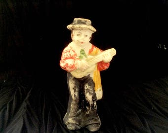 Miniature Bisque Doll Man With Guitar Japan 1920s to 1930s