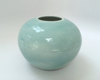 Round Light Blue Celadon Vase