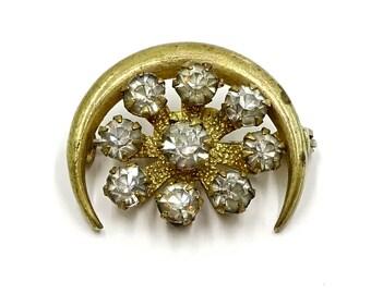 Brass Crescent And Rhinestone Starburst Pin