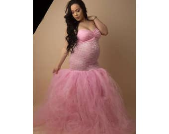 Xfull PINK Tulle Dress Gown Stripe Flowy Tutu/Lace Closed Sweeth Maternity Pregnancy Belly Session/Special Ocassion Photo Prop Baby Shower