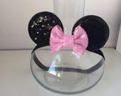 Baby Minnie Ears, Minnie Mouse headband, Disney headband, baby headband