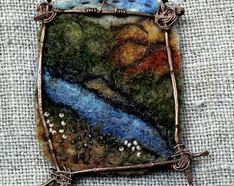 Felted pendant, Felt necklace, Felt accessory, The pendant River, Holiday gift, Boho style  Hand-made