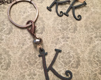 Rustic metal Initial necklaces and earrings
