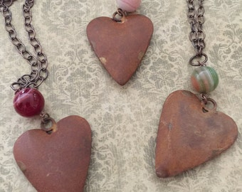 Rustic metal puffy heart necklace