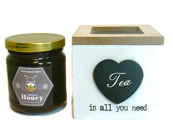 Tea and Greek Raw Honey Gift Set - Foodie Gourmet Gift - Tea Set Gift -  Chamomile / Sage/ Linden / Mountain Tea and Honey