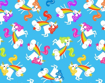 Aqua Unicorns and Rainbows Cotton Fabric