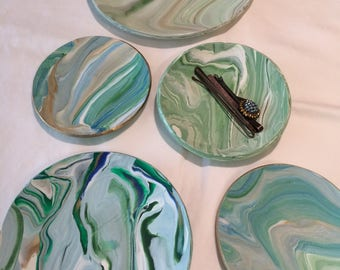 Marbelized Clay Trinket Dishes
