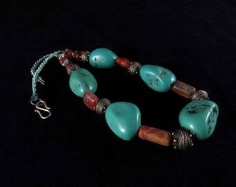 REDUCED PRICE - Turquoise and carnelian necklace