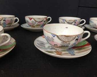 Beautiful antique/vintage painted chinese tea set cups,saucers,plates