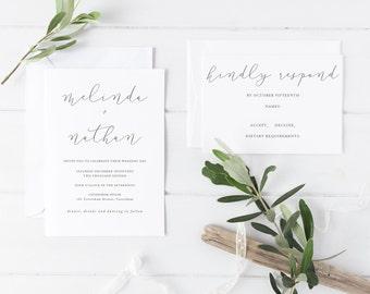 Melinda Wedding Suite - DEPOSIT - Wedding Invitation, Simple Wedding Invitation, White & Grey Wedding Invitations, Modern Script
