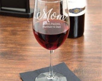 Mom Personalized Engraved 18 OZ Wine Glass  (MICD-JM7460894-T-WG18OZ)
