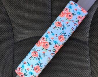 Adult Padded Seat Belt Strap Cover, Coral Vintage Floral Regular Seatbelt Strap Cover, Travel Accessories, Car Seat Lap Belt Cover, Car Seat