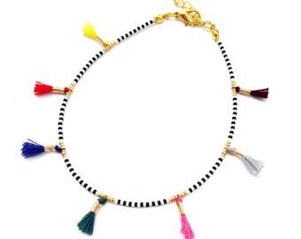 Tassel anklet, ethnic tribal anklet, bohemian beaded anklet, boho jewelry, tassel jewelry, multicolored anklet, seed beads anklet bracelet