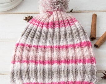 Pink beanie Knit toddler hat Knit baby girl hat Hand knit wool beanie Hand knit pom pom beanie Baby shower gift Pom pom hat Warm winter hat