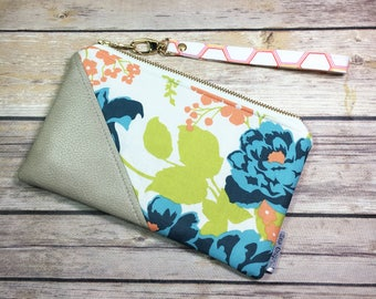 Date Night Clutch, Fabric Clutch, Blue Floral Fabric, Faux Leather Wristlet, Gift for Her, Mothers Day, Date Night