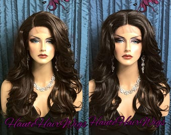 Wavy Dark/Medium-Dark Brown Layered Human Hair Blend Lace Front Wig - Gesha