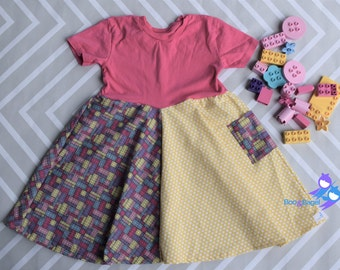 Lego dress girls, lego birthday, party outfit, t shirt, blocks, pink and yellow, lego girl, legoland