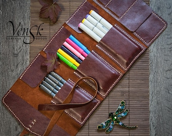 Leather Pencil Case Handmade . Colored Pencil Holder. Pen Case. Pencil Pouch. Pencil Roll. Tool Bag. Artist Gift, Gifts For Artists. Big.