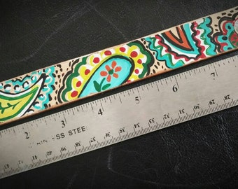 Leather cuff colorful paisley