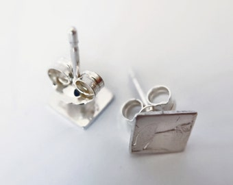 Handcrafted  Small Sterling Silver square studs  6mm diameter FREE postage in australia