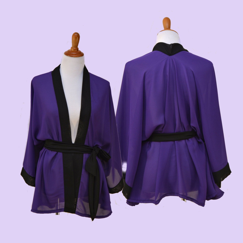 Purple chiffon robe women mini kimono black trim cardigan