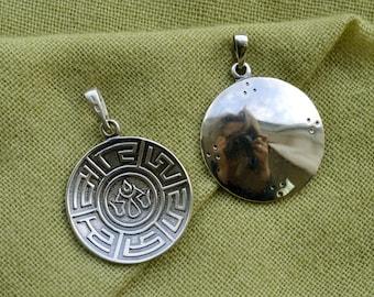 Melong. Handmade Buddhist pendant. Dzogchen. Melong mirror. Tibetan buddhism. Dzogchen. Tantric. Tibetan Jewelry. Vajrayana. Shaman mirror.