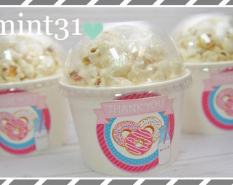 Set of 10 or 20-Donut Party Cups, Snack Cups or Ice Cream Cups