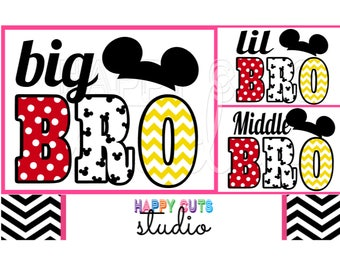 Lil Bro/Big Bro / Middle Bro Pregnancy Announcement New Baby Surprise Matching Family Vacation Mickey Mouse Disney Iron On Decal Vinyl 011