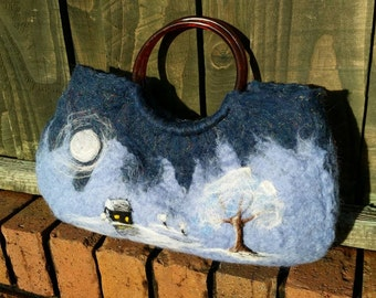 Hand felted handbag, with needle felted frosty winter scene.
