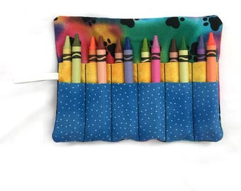Crayon Roll Up - Crayon Wrap - Crayon Organizer - Child's Gift - Travel Toy - Birthday Gift - Party Favor