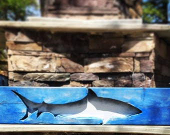 Hand Carved Shark Cut-Out