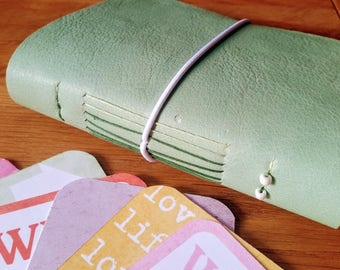 leather moleskine style notebook journal with envelope pockets and free journaling cards, mint green, fountain pen friendly, personalised