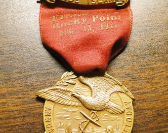 """1921 IOOF Badge - 1921 IOOF Rhode Island Rocky Point Annual Field Day Badge - Gold Tone - 4 1/2"""" X 1 5/8"""" - Excellent!"""
