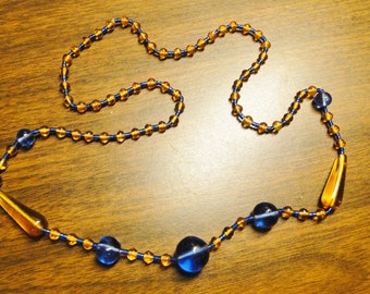 """Stunning Antique Amber & Blue Bead Necklace - 26"""" Long - Stunning Blue And  Amber Bead Necklace - Great Find!"""